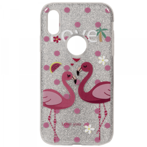 Silver With Flamingo Print Phone Cases