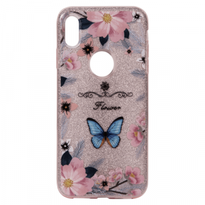 Pink Cover With Flowers & Blue Butterfly Print Phone Cases