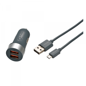 Turtle Brand Car Charger with Reversible Micro USB Cable – Grey